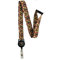 20mm British Woodland Pattern Camo Lanyard With Integrated Badge Reel