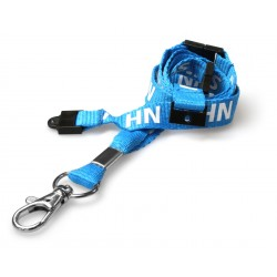 15mm Blue NHS Lanyard With 3 Point Safety Breakaway