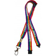 15mm Rainbow Care Worker Lanyard With 3 Point Safety Breakaway