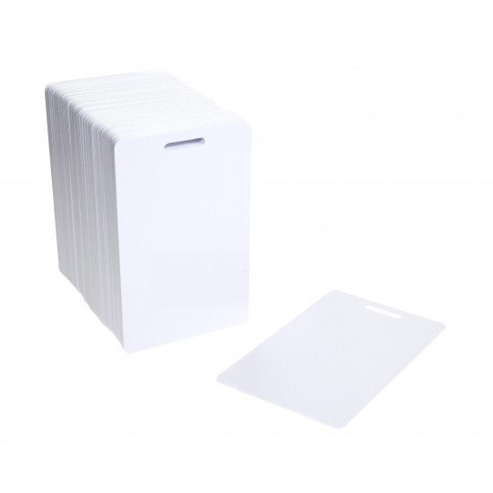 100 x Vertical Blank White Slot Punched Plastic Cards