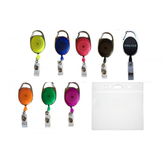 Carabiner Badge Reel & Flexible Plastic ID Card Pocket