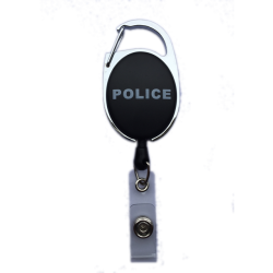 Blue Police Carabiner Badge Reel