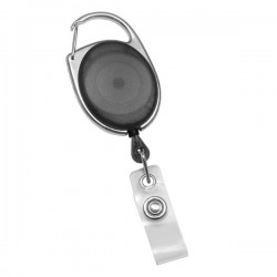 Black Carabiner Retractable Badge Reel