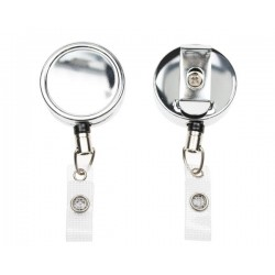 CHROME ID BADGE REELS WITH STRAP CLIP