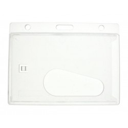 Clear Enclosed ID Card Holder with 50mm Thumb Slot - Landscape