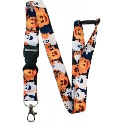 Halloween Pumpkin & Ghosts Lanyard with Safety Breakaway & Detachable Buckle Clip