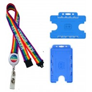 20mm Rainbow Badge Reel Key Worker Lanyard & Double Blue ID Card Holder