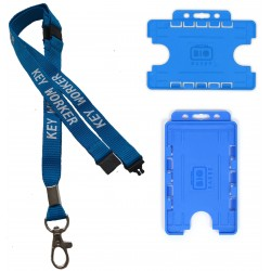 Key Worker Lanyard With 3 Point Breakaway & Double Blue ID Card Hodler