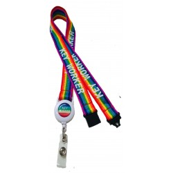 20mm Rainbow Badge Reel Key Worker Lanyard