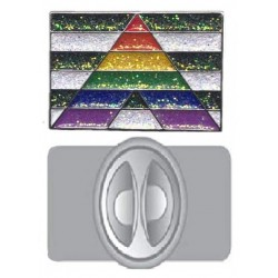 Straight Ally Glitter Pin Badge