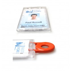 1 X ENCLOSED LOCKABLE ID CARD / BADGE HOLDER - PORTRAIT / VERTICAL - WITH KEY
