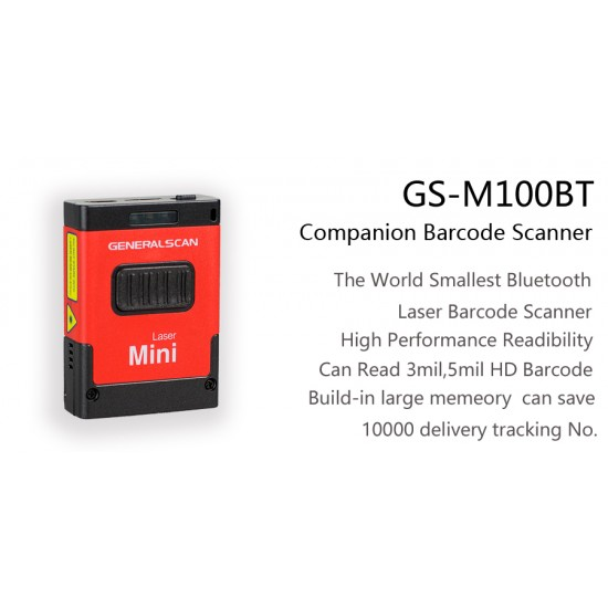 General Scan GS M100BT-40QI 1D Laser Mini Barcode Scanner Kits