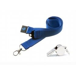 Blue Hi Quality 20mm Lanyard with Metal Whistle