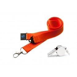 Orange Hi Quality 20mm Lanyard with Metal Whistle