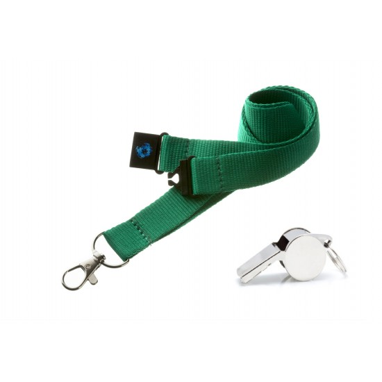 Green Hi Quality 20mm Lanyard with Metal Whistle