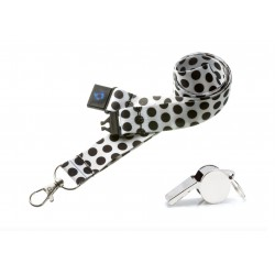 Spotty White With Black Spots  Hi Quality 20mm Lanyard with Metal Whistle