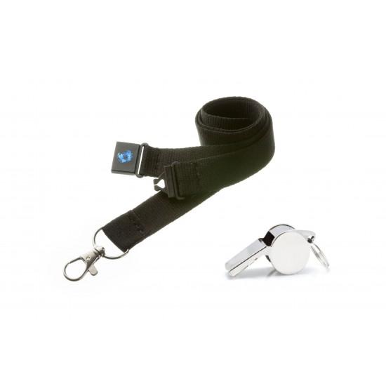 Black Hi Quality 20mm Lanyard with Metal Whistle