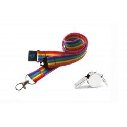 Rainbow Hi Quality 20mm Lanyard with Metal Whistle