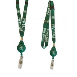 First Aid Badge Reel Lanyard With Double Safety Breakaway