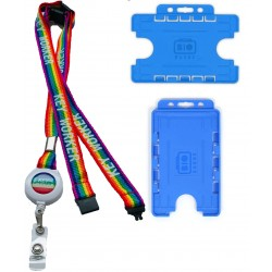 15mm Rainbow Badge Reel Key Worker Lanyard With 3 Point Breakaway & Double Blue ID Card Holder