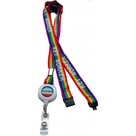 15mm Rainbow Badge Reel Key Worker Lanyard With 3 point Breakaway