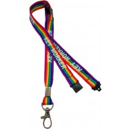 15mm 3 point Break Rainbow Key Worker Lanyard
