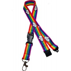 20mm Rainbow Lanyard with Safety Breakaway - Storms Don't Last Forever Print & Detachable Buckle Clip