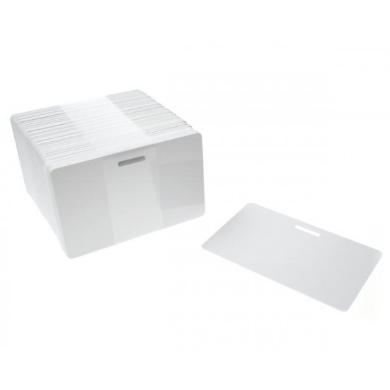 100 x Blank White Slot Punched Plastic Cards
