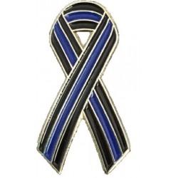 Thin Blue Line Ribbon Pin Badge