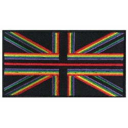 Rainbow thin Red Line Hook & Loop Patch