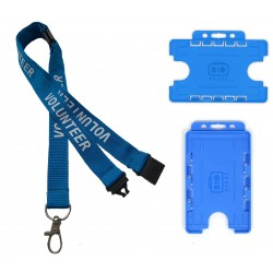Volunteer Lanyard With 3 Point Breakaway & Double Blue ID Badge Holder